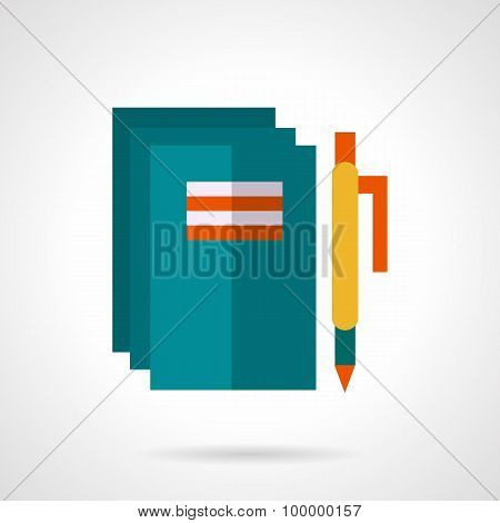 School notebooks and pen flat vector icon