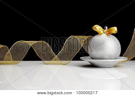 Silver Christmas Ball With Bow