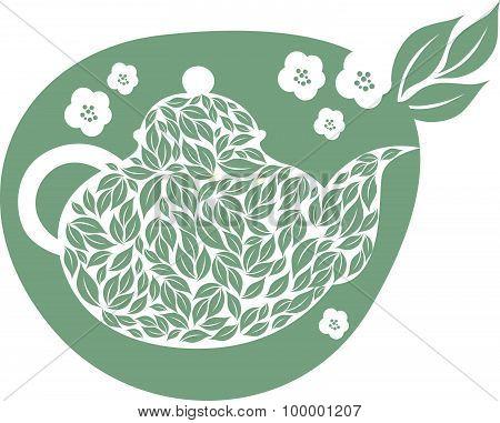 Teapot With Tea Leaf