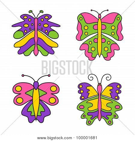 Set of color abstract butterfly isolated