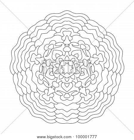 Round mandala for coloring. Ethnic symmetric pattern