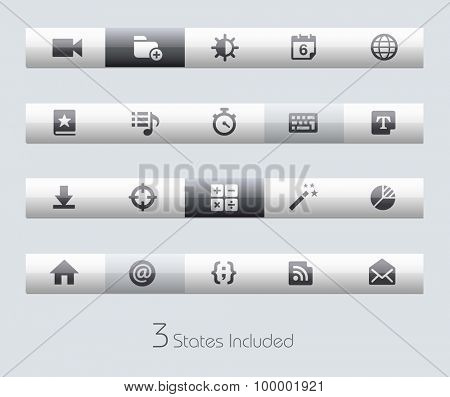 Web and Mobile 4 // Classic Bars +++ The vector file includes 3 buttons states in different layers. +++