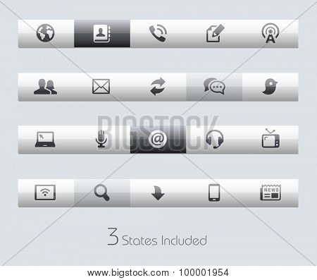 Communications // Classic Bars +++ The vector file includes 3 buttons states in different layers. +++
