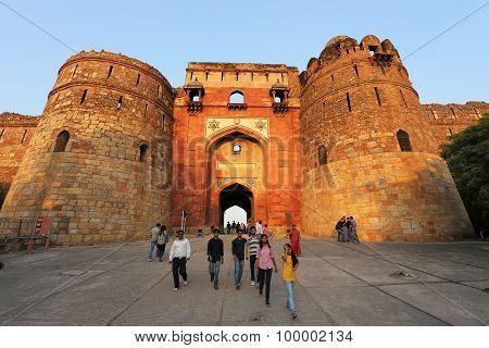 Delhi, India - November 6: Unidentified People Walk Through Bara Darwaza Of Purana Qila On November