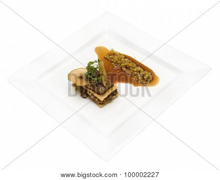 Milfey of foie gras with green apples on white background poster