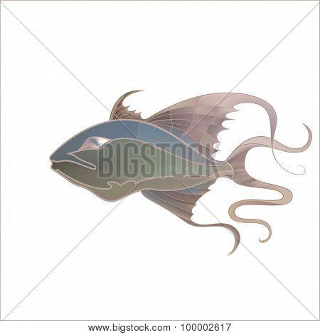 Fabulous Illustration Of Fantastic Fish Delicate Purple Shades