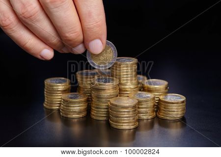 coins in the hand