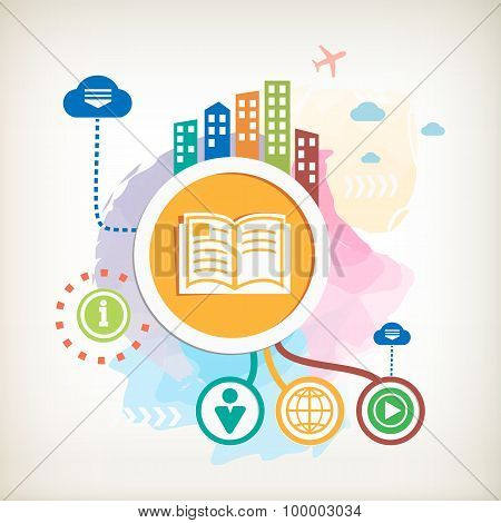 Book Sign Icon  And City On Abstract Colorful Watercolor Background