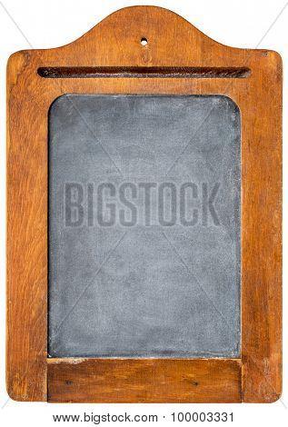 small blank vintage slate blackboard in rustic wooden frame - message board