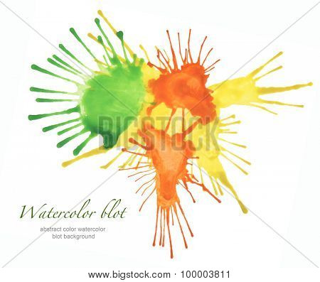 abstract color watercolor blot isolated