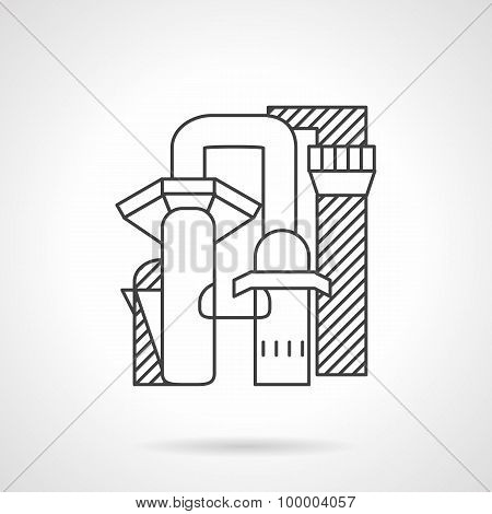Pulp and paper mill line vector icon