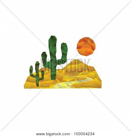 A desert landscape with cactuses and sun
