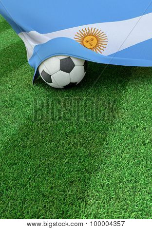 Soccer Ball And National Flag Of Argentina,  Green Grass