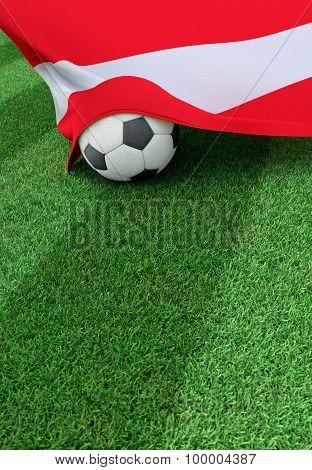 Soccer Ball And National Flag Of Austria,  Green Grass