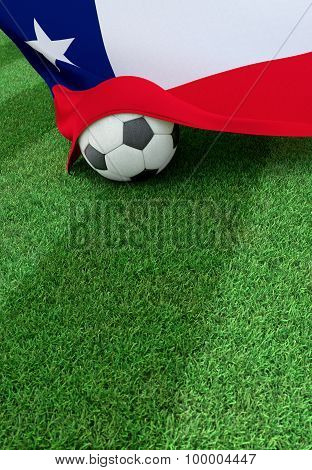 Soccer Ball And National Flag Of Chile,  Green Grass