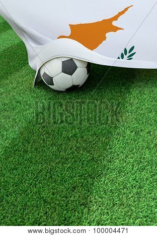 Soccer Ball And National Flag Of Cyprus,  Green Grass