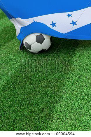 Soccer Ball And National Flag Of Honduras,  Green Grass