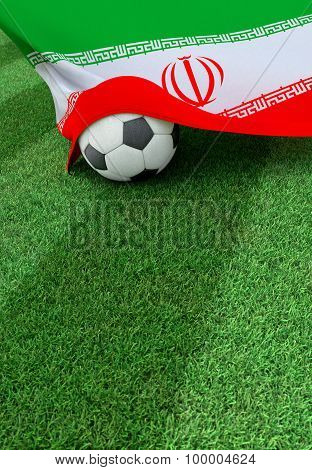 Soccer Ball And National Flag Of Iran,  Green Grass