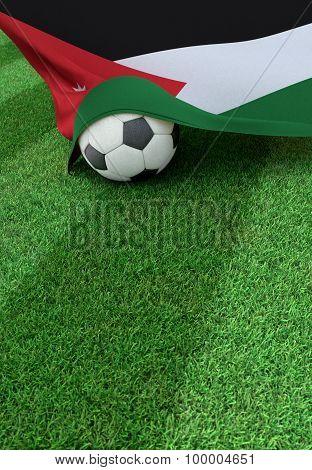 Soccer Ball And National Flag Of Jordan,  Green Grass
