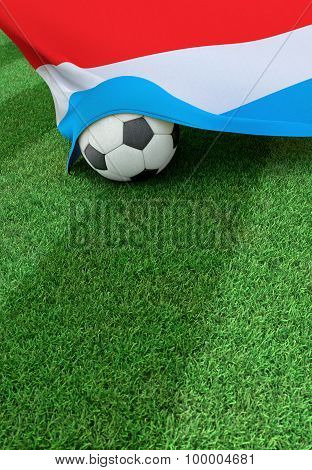 Soccer Ball And National Flag Of Luxembourg,  Green Grass