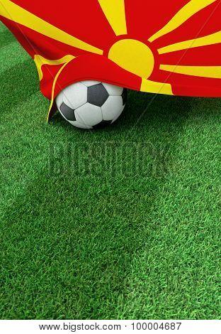 Soccer Ball And National Flag Of Macedonia,  Green Grass