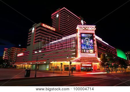 Reno, Usa - August 12: Eldorado Hotel And Casino At Night On August 12, 2014 In Reno, Usa. Reno Is T