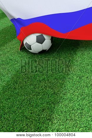 Soccer Ball And National Flag Of Russia,  Green Grass