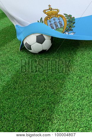 Soccer Ball And National Flag Of San Marino,  Green Grass