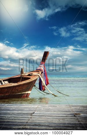 Long tailed boat in Phuket Thailand