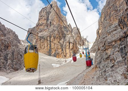 Cable Car At Monte Cristallo Massif