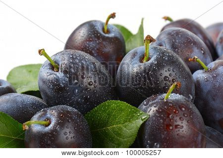 detail of washed plums with leaves