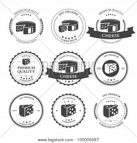 Set Of Premium Cheese Labels Badges. Vector