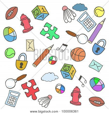 Colorful Doodle Background. Vector Illustration