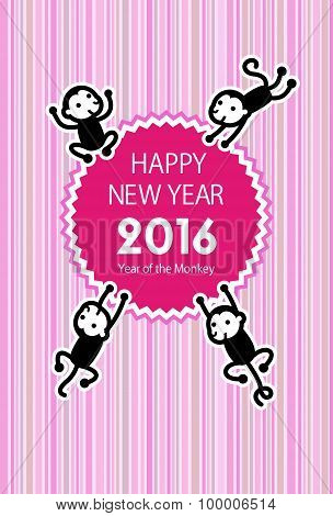Monkey New Year Card Illustration