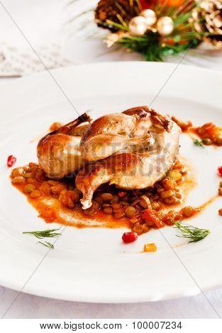 quail with lentil