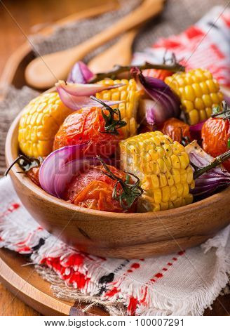 Roasted Vegetables In Wooden Bowl