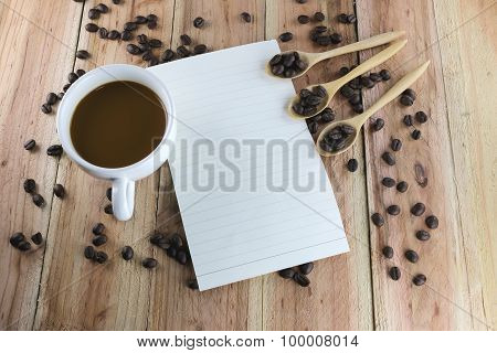 White Coffee Cup And Note Paper.