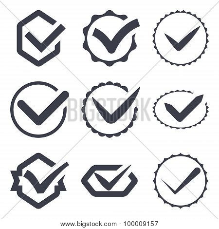 Set of nine different vector check marks