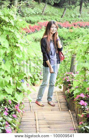 Portrait Asia Young Woman Happy And Smile On Doi Tung Garden, Chiang Rai, Thailand