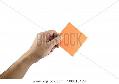 Man's Arm Showing Orange Note Paper In Hand.
