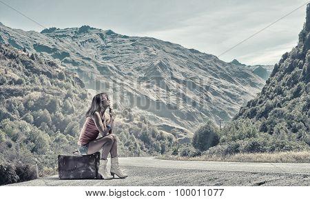 Woman Hitchhiking traveling