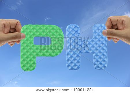 Hand Arrange Alphabet Ph Of Acronym Power Hydrogen.