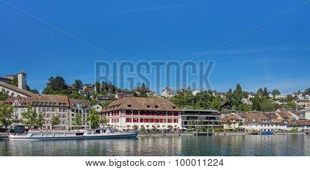Buildings Along The Rhine River In Schaffhausen
