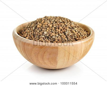 Coriander Seed In The Wood Bowl On White Background
