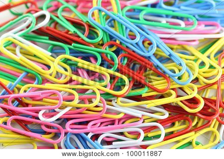 Pile Of Colorful Paperclip.