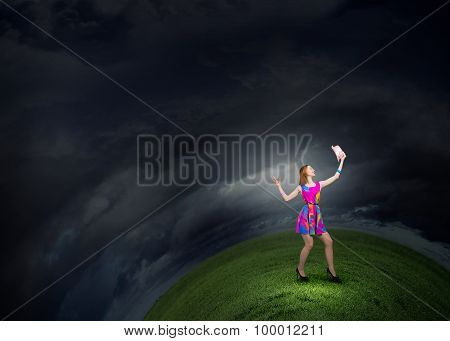 Girl in multicolored bright dress