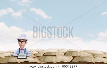 Funny man in glasses with big head