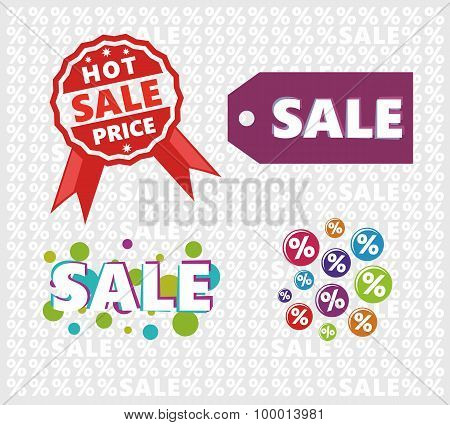 Sale signs set with tile background