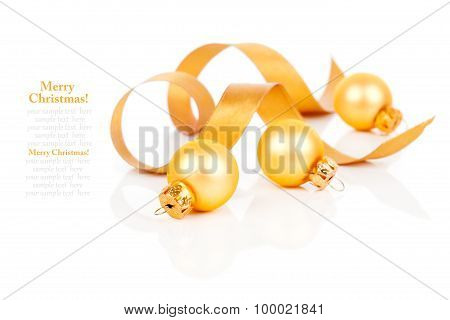 Golden Christmas Decoration Balls With Satin Ribbon, Isolated On White Background