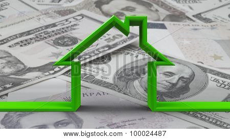 House Outline On Bw Money Background